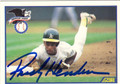 RICKEY HENDERSON OAKLAND ATHLETICS AUTOGRAPHED BASEBALL CARD #101013L