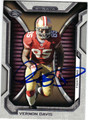 VERNON DAVIS SAN FRANCISCO 49ers AUTOGRAPHED FOOTBALL CARD #10114M