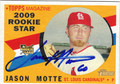 JASON MOTTE AUTOGRAPHED ROOKIE BASEBALL CARD #101211D