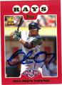 DELMON YOUNG AUTOGRAPHED BASEBALL CARD #101611E