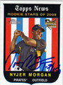 NYJER MORGAN AUTOGRAPHED ROOKIE BASEBALL CARD #101611D