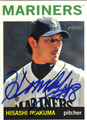 HISASHI IWAKUMA SEATTLE MARINERS AUTOGRAPHED ROOKIE BASEBALL CARD #101613J