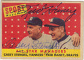 CASEY STENGEL & FRED HANEY DOUBLE AUTOGRAPHED ALL-STAR MANAGERS VINTAGE BASEBALL CARD #101713B