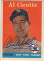 AL CICOTTE NEW YORK YANKEES AUTOGRAPHED VINTAGE BASEBALL CARD #101813D