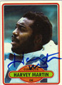 HARVEY MARTIN AUTOGRAPHED VINTAGE FOOTBALL CARD #101911A