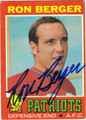 RON BERGER AUTOGRAPHED VINTAGE FOOTBALL CARD #102211C