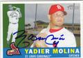 YADIER MOLINA AUTOGRAPHED BASEBALL CARD #102311O
