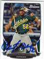 YOENIS CESPEDES OAKLAND ATHLETICS AUTOGRAPHED BASEBALL CARD #102413F