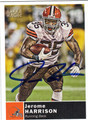 JEROME HARRISON AUTOGRAPHED FOOTBALL CARD #102611B