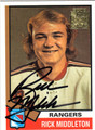 RICK MIDDLETON NEW YORK RANGERS AUTOGRAPHED HOCKEY CARD #10613H