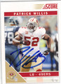 PATRICK WILLIS SAN FRANCISCO 49ers AUTOGRAPHED FOOTBALL CARD #10714L