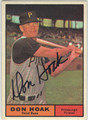 DON HOAK PITTSBURGH PIRATES AUTOGRAPHED VINTAGE BASEBALL CARD #111013E