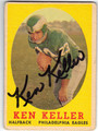 KEN KELLER PHILADELPHIA EAGLES AUTOGRAPHED VINTAGE FOOTBALL CARD #11113J
