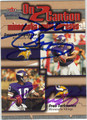 DAUNTE CULPEPPER & FRAN TARKENTON MINNESOTA VIKINGS DOUBLE AUTOGRAPHED FOOTBALL CARD #111512K