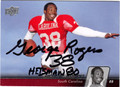 GEORGE ROGERS AUTOGRAPHED FOOTBALL CARD #112111T