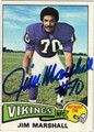 JIM MARSHALL AUTOGRAPHED VINTAGE FOOTBALL CARD #112012J
