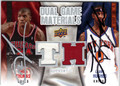 TYRUS THOMAS & LARRY HUGHES DOUBLE AUTOGRAPHED PIECE OF THE GAME BASKETBALL CARD #112112A
