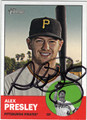 ALEX PRESLEY PITTSBURGH PIRATES AUTOGRAPHED BASEBALL CARD #112113C