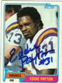 EDDIE PAYTON MINNESOTA VIKINGS AUTOGRAPHED VINTAGE FOOTBALL CARD #112313L