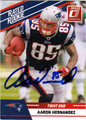 AARON HERNANDEZ AUTOGRAPHED ROOKIE FOOTBALL CARD #112611B