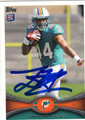LAMAR MILLER MIAMI DOLPHINS AUTOGRAPHED ROOKIE FOOTBALL CARD #112613B