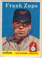 FRANK ZUPO BALTIMORE ORIOLES AUTOGRAPHED VINTAGE ROOKIE BASEBALL CARD #112713J