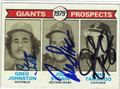 GREG JOHNSTON, JOE STRAIN & JOHN TAMARGO SAN FRANCISCO GIANTS TRIPLE AUTOGRAPHED VINTAGE ROOKIE BASEBALL CARD #112913N