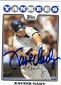 XAVIER NADY AUTOGRAPHED BASEBALL CARD #113010L