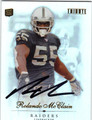 ROLANDO McCLAIN OAKLAND RAIDERS AUTOGRAPHED ROOKIE FOOTBALL CARD #11413A