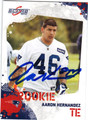 AARON HERNANDEZ NEW ENGLAND PATRIOTS AUTOGRAPHED ROOKIE FOOTBALL CARD #11613B