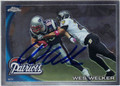 WES WELKER NEW ENGLAND PATRIOTS AUTOGRAPHED FOOTBALL CARD #12013E