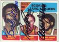 BOB McADOO, RICK BARRY & KAREEM ABDUL-JABBAR TRIPLE AUTOGRAPHED VINTAGE BASKETBALL CARD #120213G