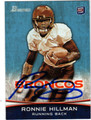 RONNIE HILLMAN AUTOGRAPHED ROOKIE FOOTBALL CARD #120412i