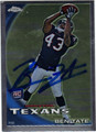 BEN TATE AUTOGRAPHED ROOKIE FOOTBALL CARD #120411B