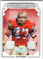 AJ HAWK AUTOGRAPHED & NUMBERED PIECE OF THE GAME FOOTBALL CARD #120612M