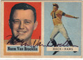 NORM VAN BROCKLIN LOS ANGELES RAMS AUTOGRAPHED VINTAGE FOOTBALL CARD #121113F