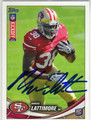MARCUS LATTIMORE SAN FRANCISCO 49ers AUTOGRAPHED ROOKIE FOOTBALL CARD #121313H