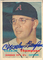 CHARLEY THOMPSON KANSAS CITY ATHLETICS AUTOGRAPHED VINTAGE BASEBALL CARD #121313Q