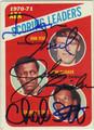 DAN ISSEL, JOHN BRISKER & CHARLIE SCOTT TRIPLE AUTOGRAPHED VINTAGE BASKETBALL CARD #121313N