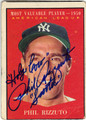 PHIL RIZZUTO NEW YORK YANKEES AUTOGRAPHED VINTAGE BASEBALL CARD #121613E