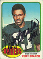 CLIFF BRANCH AUTOGRAPHED VINTAGE FOOTBALL CARD #121711L