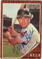WOODY HELD AUTOGRAPHED VINTAGE BASEBALL CARD #121712S