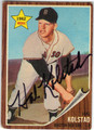 HAL KOLSTAD BOSTON RED SOX AUTOGRAPHED VINTAGE ROOKIE BASEBALL CARD #121813G