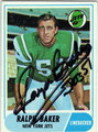 RALPH BAKER NEW YORK JETS AUTOGRAPHED VINTAGE FOOTBALL CARD #122313L