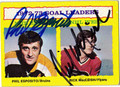 PHIL ESPOSITO & RICK MacLEISH DOUBLE AUTOGRAPHED VINTAGE HOCKEY CARD #122610B