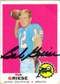 BOB GRIESE AUTOGRAPHED VINTAGE FOOTBALL CARD #123011A