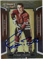 PIERRE PILOTE CHICAGO BLACKHAWKS AUTOGRAPHED HOCKEY CARD #123113J