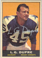 L.G. DUPRE DALLAS COWBOYS AUTOGRAPHED VINTAGE FOOTBALL CARD #13113N