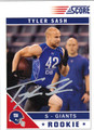 TYLER SASH AUTOGRAPHED ROOKIE FOOTBALL CARD #20612A