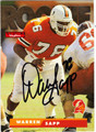 WARREN SAPP UNIVERSITY OF MIAMI AUTOGRAPHED ROOKIE FOOTBALL CARD #20613E